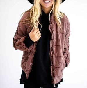 Free People Quilted Dolman Jacket XS terracotta